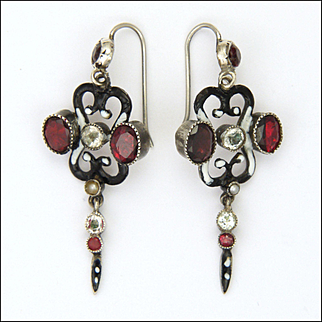 Austro-Hungarian Silver Garnets Tourmalines Enamel Earrings