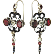 Austro-Hungarian Silver Garnets Tourmalines Enamel Earrings
