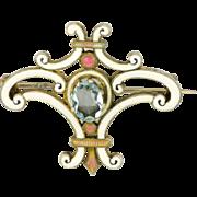 Austro-Hungarian Silver Aquamarine and Enamel Fleur de Lis PIn