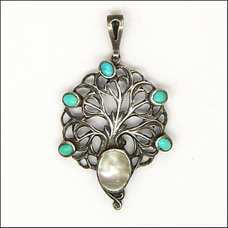 English Arts and Crafts Sterling Turquoise and Pearl Pendant - William  Hair Haseler for Liberty