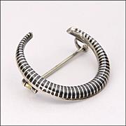 European Antique Silver Niello Crescent 'Honeymoon' Pin