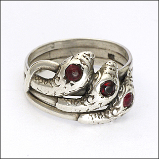 Art Deco European 800 Silver and Pastes Triple Snake Ring