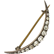 Antique Sterling Silver and Pastes Crescent Pin