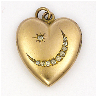 American Rolled Gold and Pastes Heart Locket - WH and Co