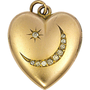 Early Deco Rolled Gold and Pastes Heart Locket - WH and Co