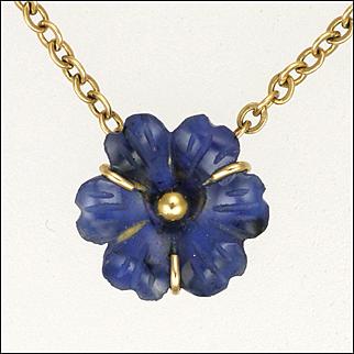 French Gold Filled 'FIX' 'Pâte de Verre' Flower Necklace