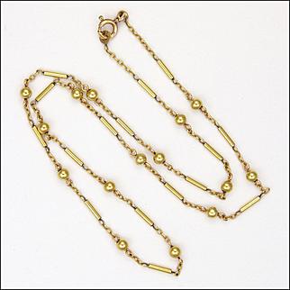 French Circa 1930 Gold Filled Decorative Chain Necklace - ORIA