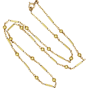 French Circa 1930 Gold Filled Decorative Chain Necklace - ORIA