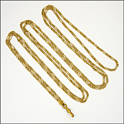 French Antique Gold Plated  Guard Chain - Mercure - 55""