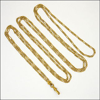 """French Antique Gold Plated  Guard Chain - Mercure - 55"""""""