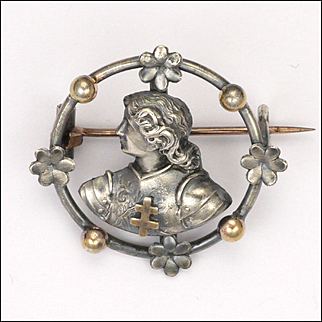 French Victorian Silver Joan of Arc Circle Pin - RARE!