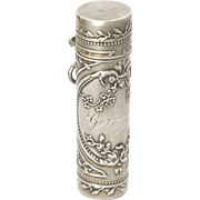 French Antique Silver Perfume Flacon