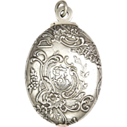 French Antique Repoussé Silver Slide Pendant Locket
