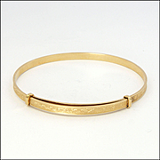 French Gold Filled Engaved Adjustable Bangle - FIX