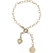 French Silver Heart, Ball and Disc Bracelet - Short Length