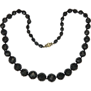 French Jet Graduated Bead Necklace with Paste Set Clasp - 18¼ inches