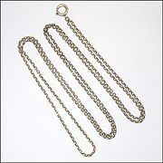 """French Circa 1900 Silver Engraved Link Guard Chain - 54"""" -19.1 grams"""