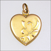 French Art Nouveau Gold Filled Mistletoe Heart Pendant - FIX