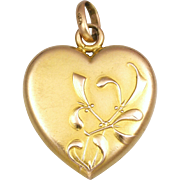 French Art Nouveau Gold Filled Mistletoe Heart Pendant - FIX