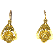 French Art Deco 18K Dainty Rose Earrings - Lever Backs