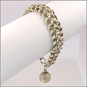 French Victorian Silver Snake Engraved Bracelet with Ball Charm