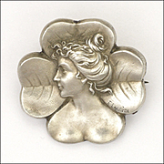 French Art Nouveau Silver Lady In Clover Pin  signed  E Lavillette