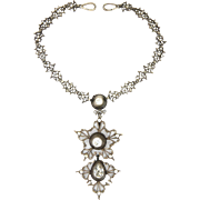 French Georgian Silver Paste Necklace with Pendant