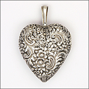 English Victorian 1873 Silver Engraved Large Heart Shaped Locket - THOMAS JOHNSON