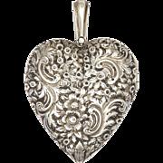 English Victorian 1873 Silver Engraved Large Heart Shaped Locket - THOMAS JOHNSON