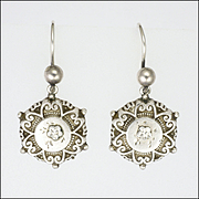 English Victorian 1884 Sterling Silver Engraved Earrings