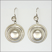 Victorian Sterling Silver Round Earrings with Shepherd's Hooks