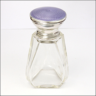 English Art Deco Sterling Silver and Lilac Enamel Perfume Bottle- AlBERT CARTER