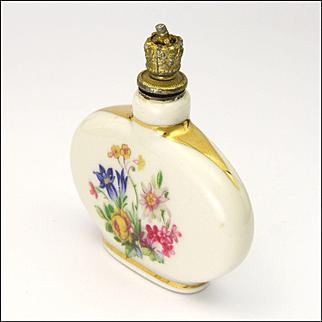 Swiss Ceramic Alpine Flowers Perfume Flask - Cottier Frères