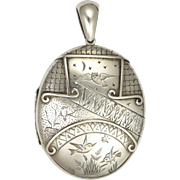 Victorian 'Night and Day' Sterling Silver Locket
