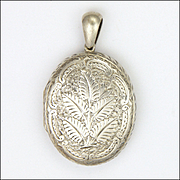 Victorian Sterling Silver Engraved Ferns Locket