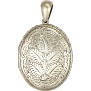 Victorian Sterling Silver Engaved Ferns Locket