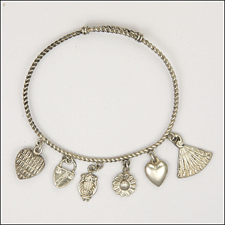 Victorian Sterling Silver Bangle with Six Charms