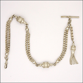 Victorian Sterling Silver Albertina Chain/Bracelet with Tassel