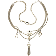 French Circa 1900 Silver Albertina Necklace with Sterling Extension - Heart Tassel Drop