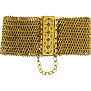 Georgian Pinchbeck Chain Mail Cuff Bracelet