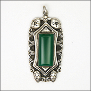 Art Nouveau German Jugendstil 800 Silver and Chrysoprase Agate Pendant
