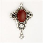 Art Nouveau Jugendstil 800 Silver Carnelian and Mabe Pearl Pendant