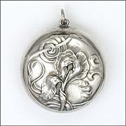 Art Nouveau 800 Silver Iris Motif Chatelaine Box Pendant