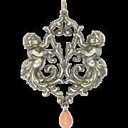 Italian Renaissance Revival Silver Cherub Pendant with Coral Drop