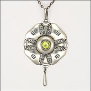 Art Nouveau Jugendstil 935 Silver Peridot Pendant Necklace - CHRISTIAN SEYBOLD