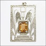 Austrian Art Deco 900 Silver Flower Pendant