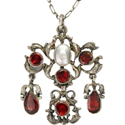 Austro-Hungarian Silver Red Tourmalines and Mabe Pearl Pendant Necklace
