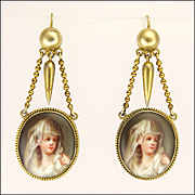 German Biedermeier Silver Gilt and Enamel Drop Earrings