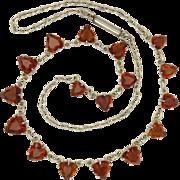 Edwardian Cairngorm Heart Gemstones on Sterling Silver Necklace