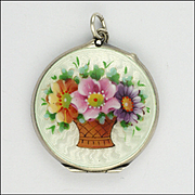 Edwardian Silver Enamel Basket of Anemone Flowers Locket